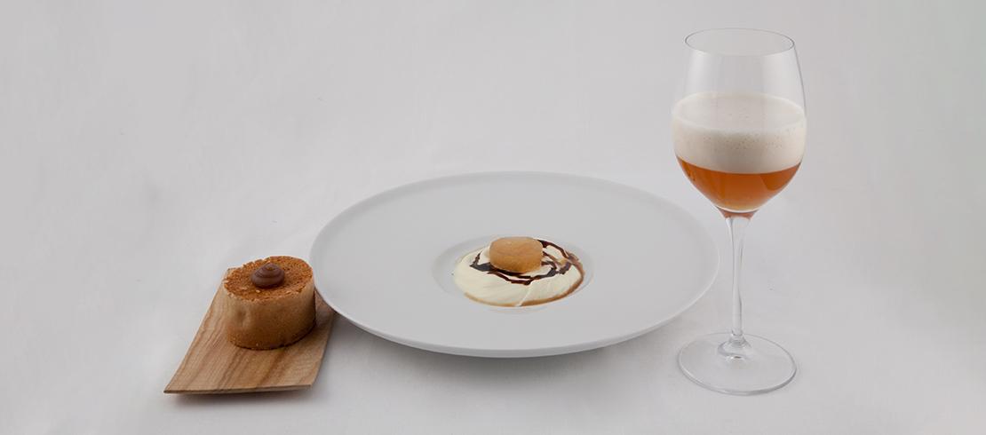 Ghiacciolo di Birra Moretti con cremoso di cioccolato bianco, marroni e caffè