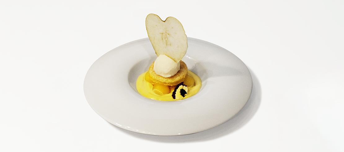 Mel-ting pot: genoise di mela verde, spuma di zenzero, perle di mela alla cannella, sorbetto alla Birra Moretti Baffo d'Oro e zeste di lime