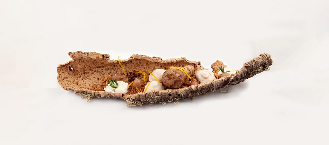 Topinambur, cioccolato bianco, arancia, marroni e Birra Moretti Grand Cru